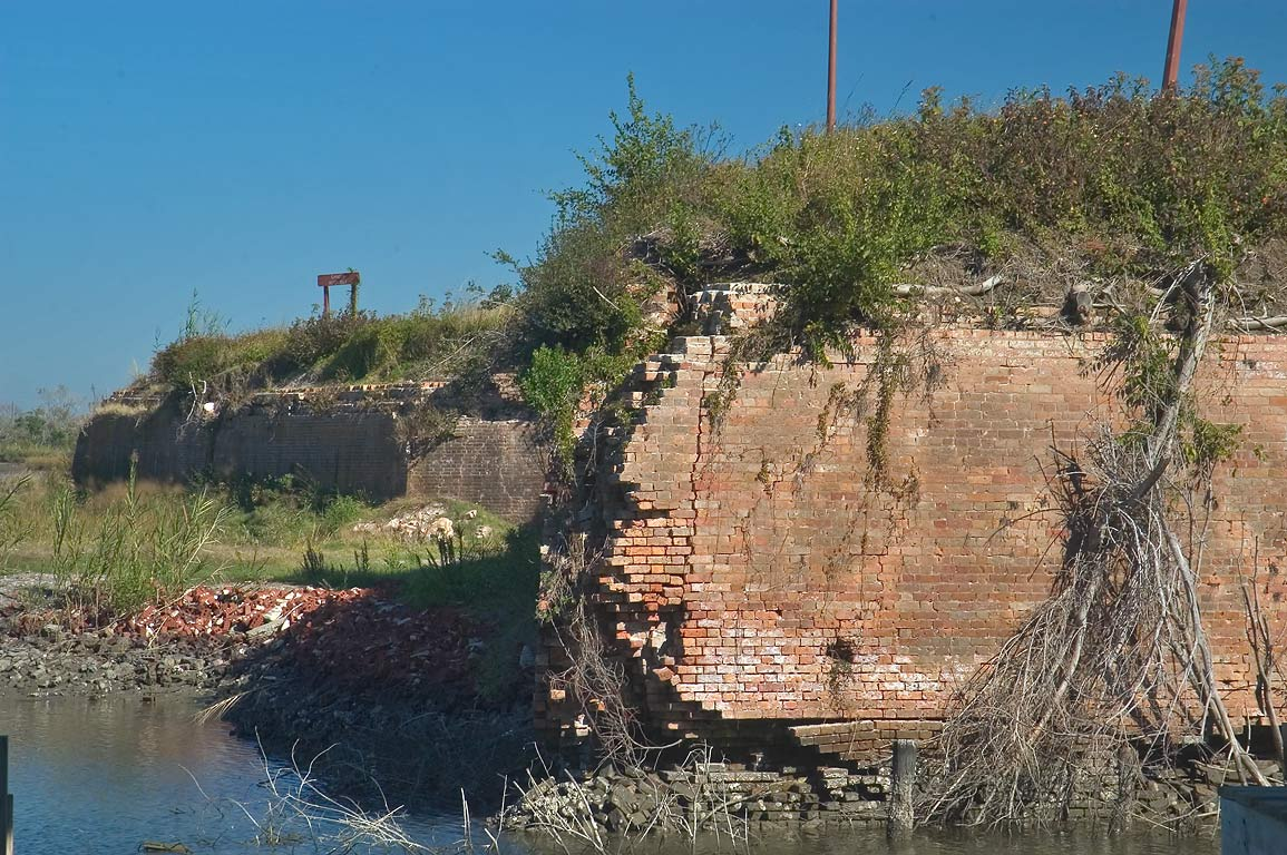 A moat and crumbling walls of Fort Macomb near...Isles. Eastern New Orleans, Louisiana