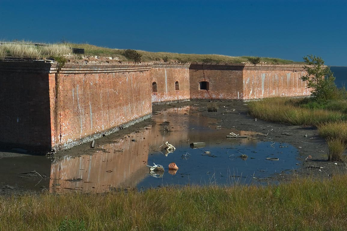 A moat of Fort Pike at low tide. Eastern New Orleans, Louisiana