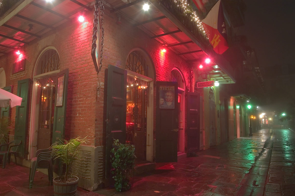 A corner of Pirate's and Cabildo alleys in French Quarter in fog. New Orleans, Louisiana