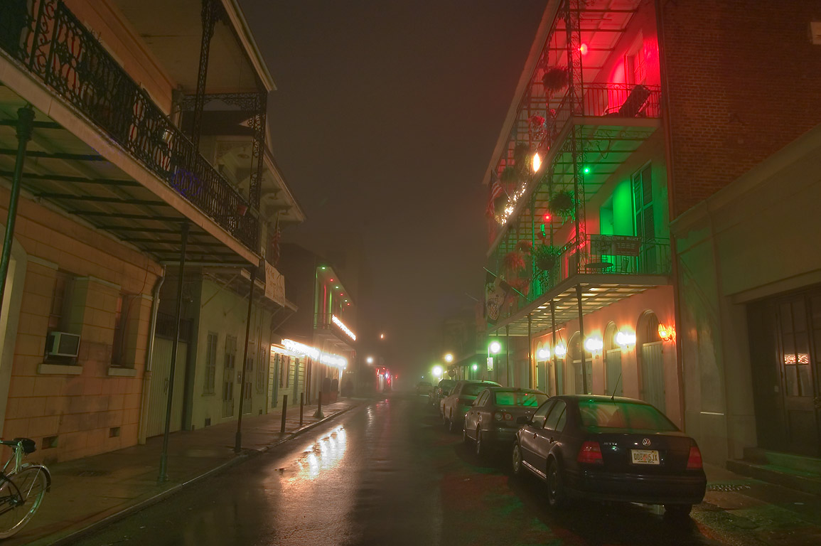 Somewhere near Ursulines St. in French Quarter in fog. New Orleans, Louisiana