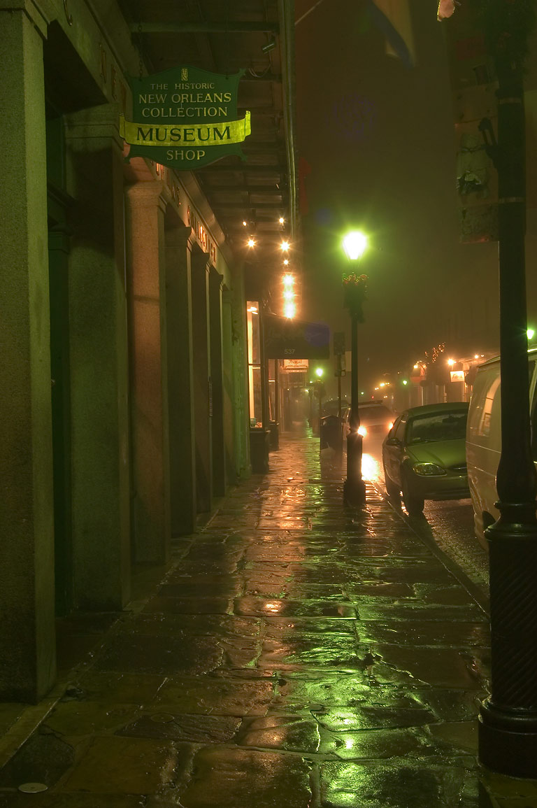 The historic collection museum shop on Royal St...Quarter in fog. New Orleans, Louisiana