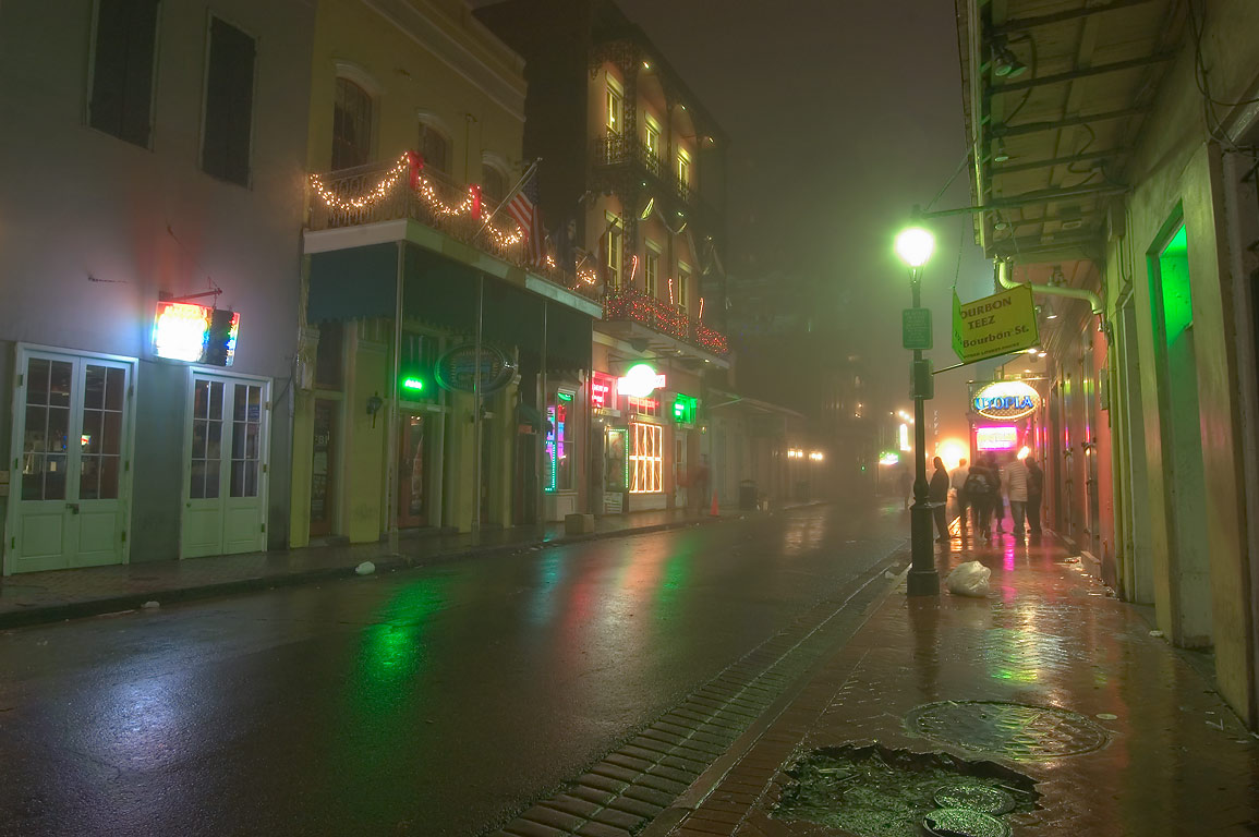 Bourbon Street near St.Louis St. in French Quarter in fog. New Orleans, Louisiana