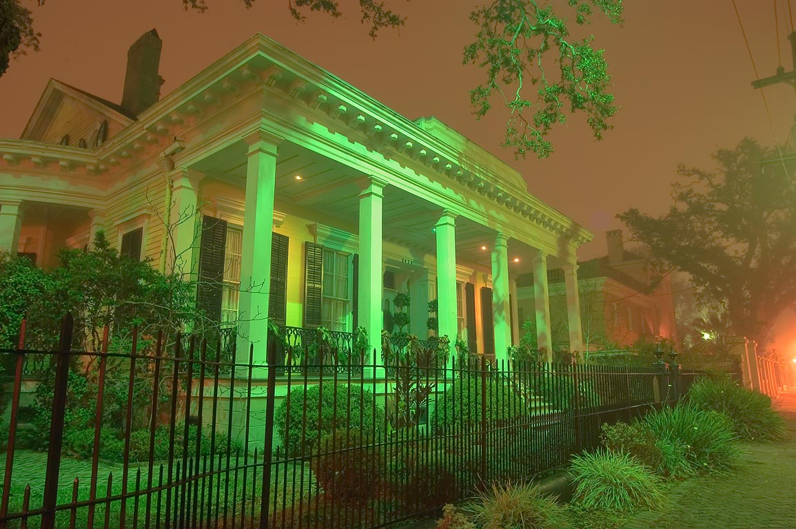 Closer view of Adams-Jones House at 2423 Prytania...in fog. New Orleans, Louisiana