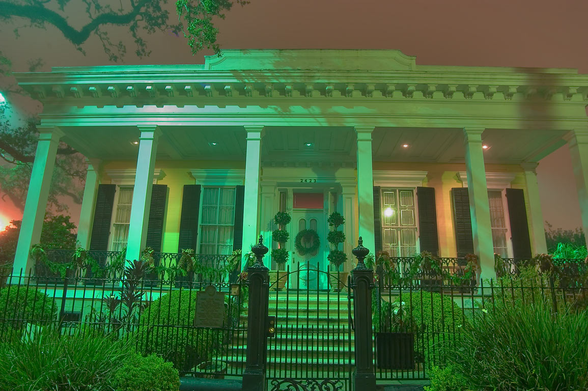 Front porch of Adams-Jones House at 2423 Prytania...in fog. New Orleans, Louisiana