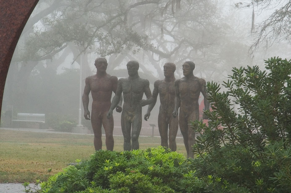 Riace Warriors, I, II, III, IV sculpture...Park in fog. New Orleans, Louisiana