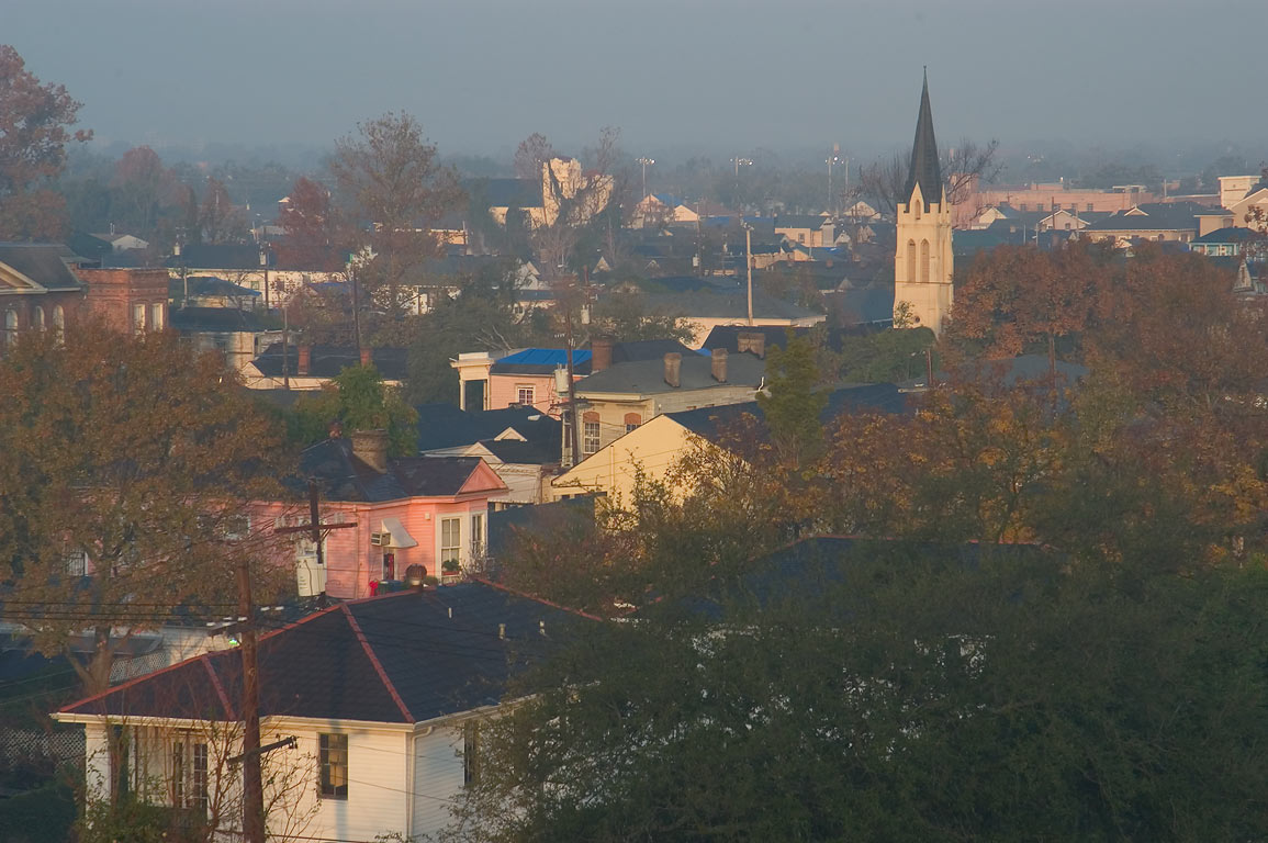 Central City neighborhood from a window of an...at morning. New Orleans, Louisiana