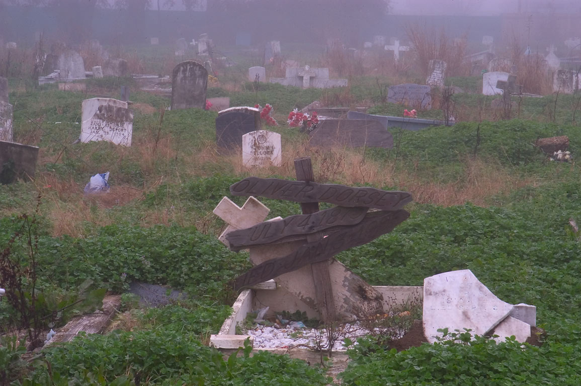 Tombs of Holt Cemetery in fog. New Orleans, Louisiana