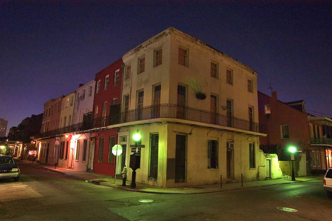 A corner of Burgundy and Dumaine streets in...at evening. New Orleans, Louisiana