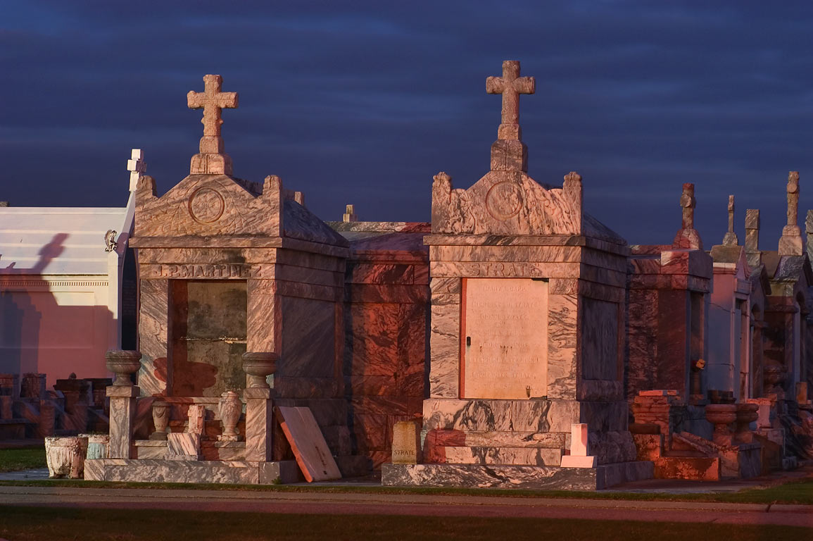 Tombs of Greenwood Cemetery at morning, view from Metairie Rd.. New Orleans, Louisiana