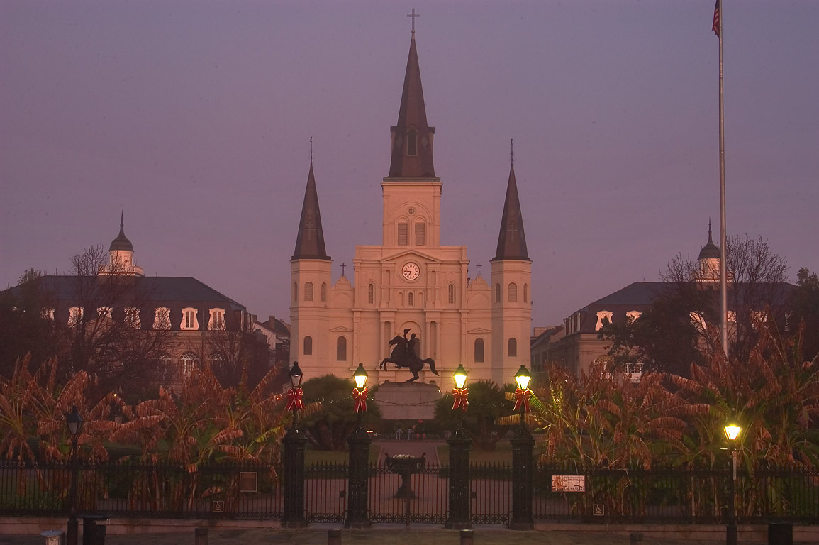 St.Louis Cathedral at morning, view from Washington Artillery Park. New Orleans, Louisiana