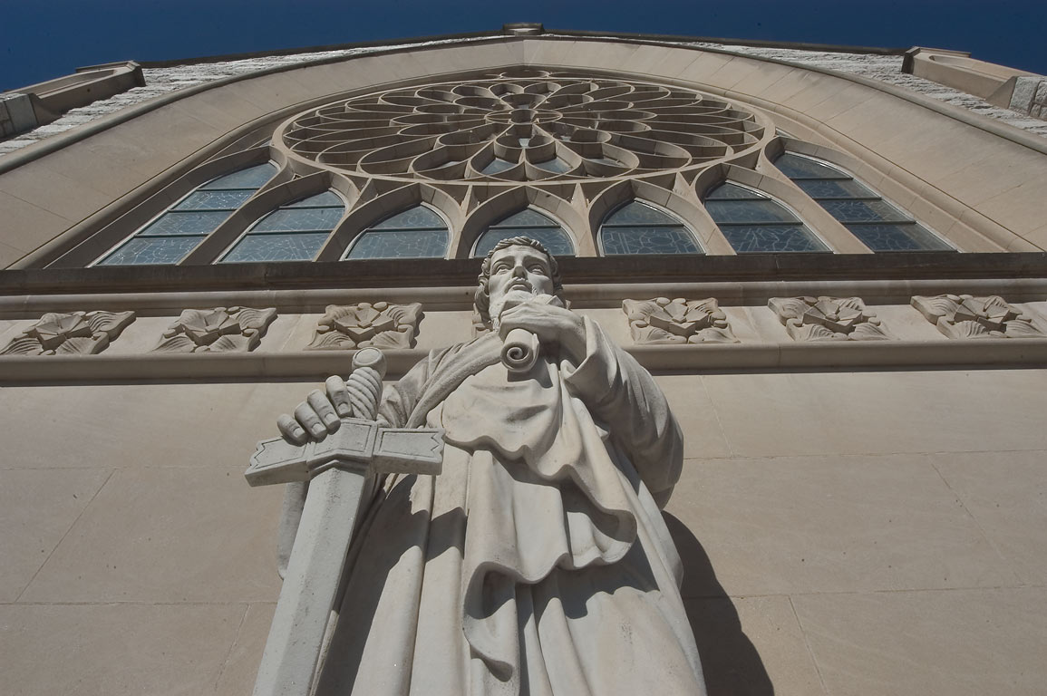 A front statue of St.Paul's Catholic Church on Nassau St.. Princeton, New Jersey