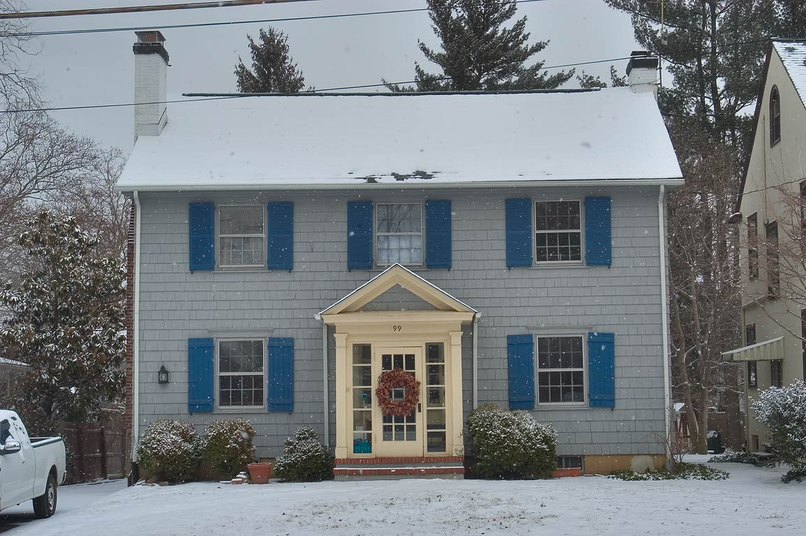 A house at 99 Jefferson Rd. in snow. Princeton, New Jersey
