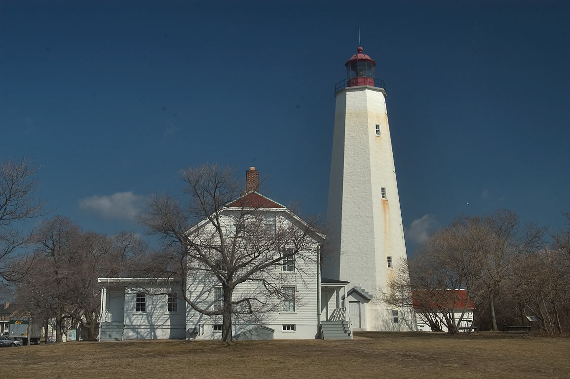 Sandy Hook Lighthouse, view from Hudson Dr.. Sandy Hook, New Jersey