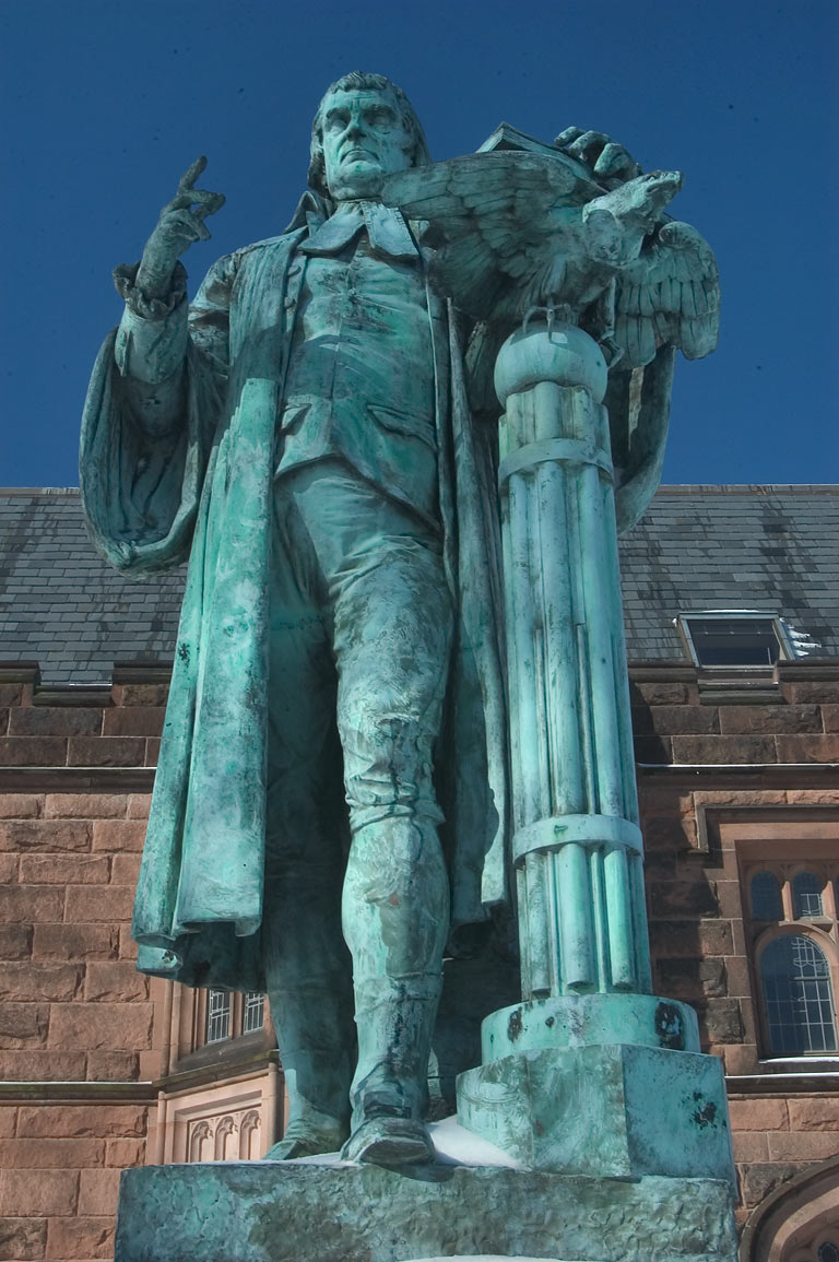 John Witherspoon statue near Firestone Library in...University. Princeton, New Jersey