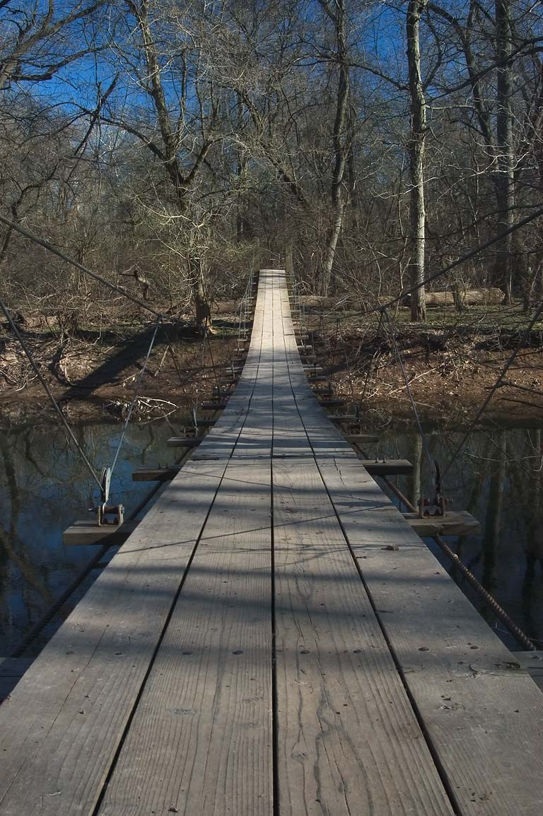 A suspension bridge across Stony Brook in the...Studies. Princeton, New Jersey