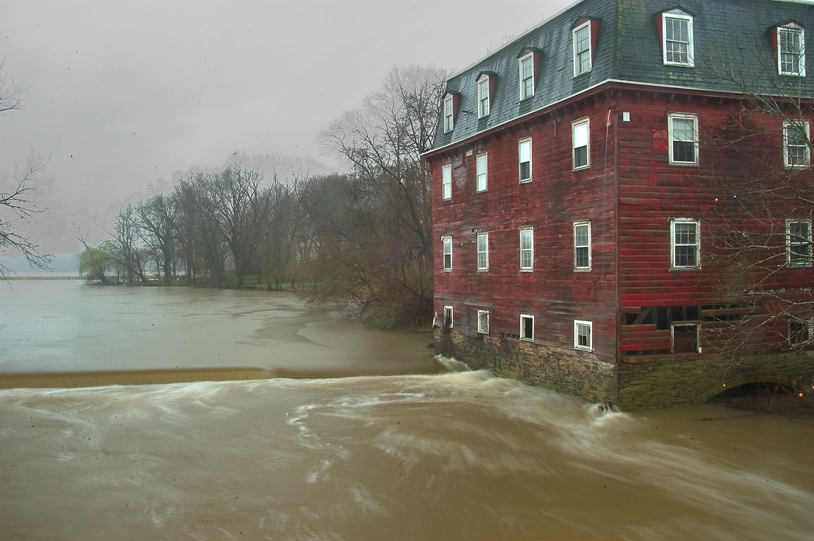 A mill on Millstone River after a rain. Kingston, New Jersey