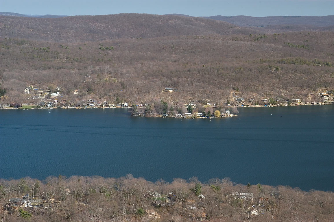 View of Fox Island in Greenwood Lake from Quail...Forest. West Millford, New Jersey