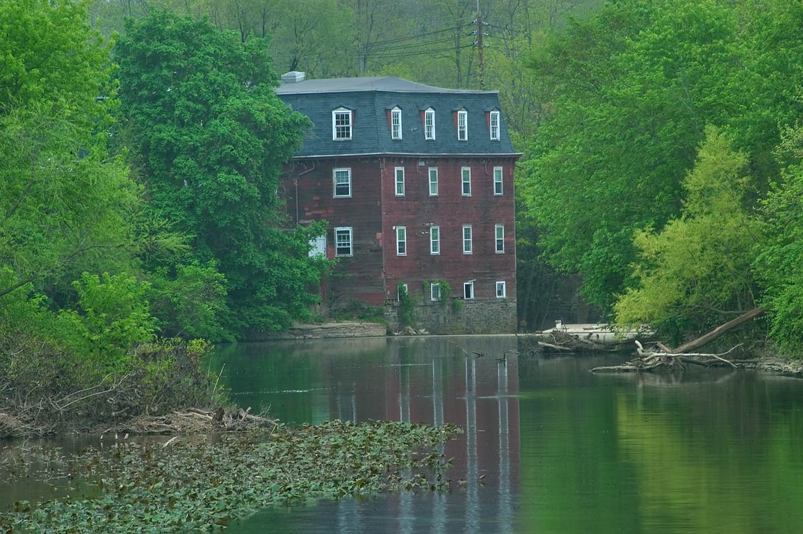 A mill near Carnegie Lake, view from a dam in...Canal State Park. Kingston, New Jersey