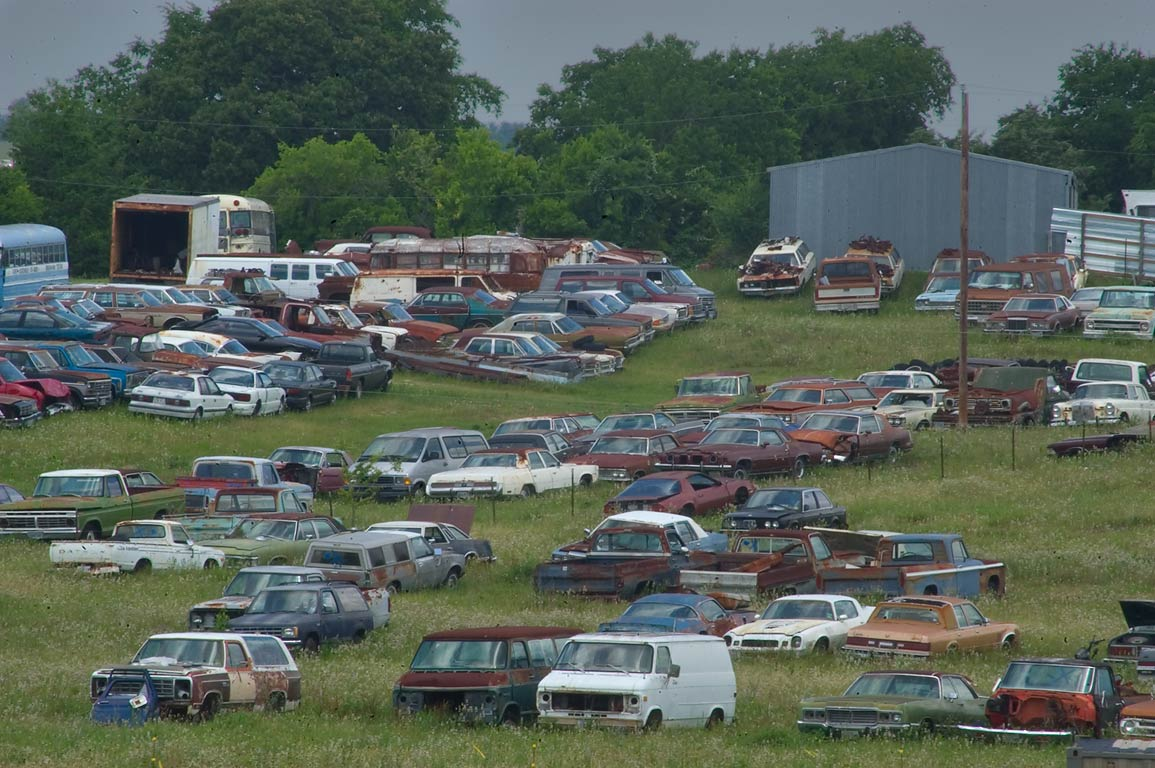 Junk cars, view from Rd. 50, near Airport Rd.. Brenham, Texas