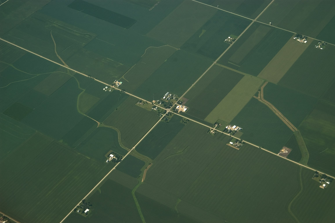 Road junction south from Chicago, view from a plane. Illinois