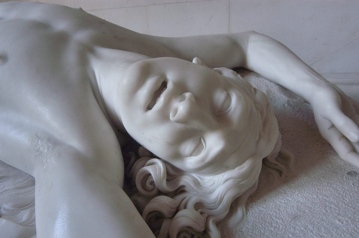 Fragment of a marble statue in Hermitage museum. St.Petersburg, Russia