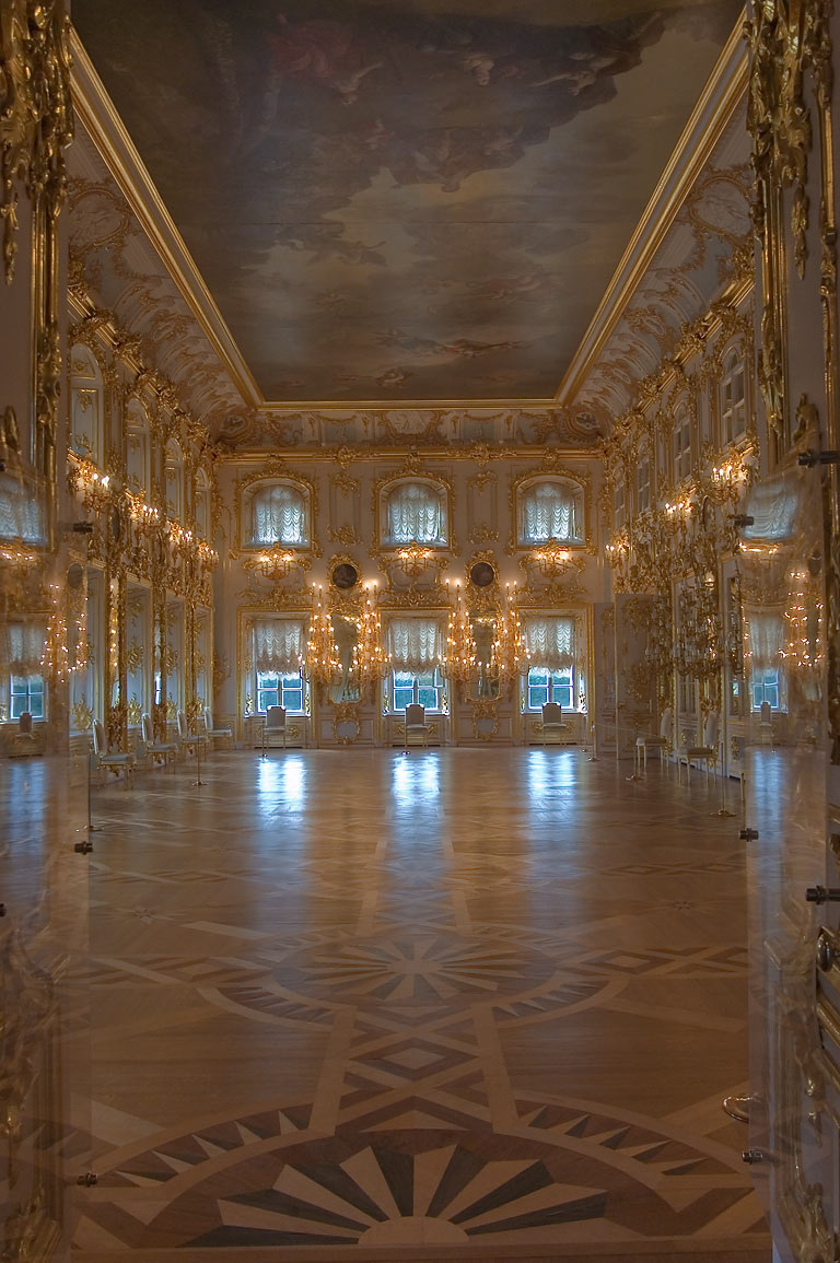 Ball hall in Grand Palace. Peterhof, a suburb of St.Petersburg, Russia