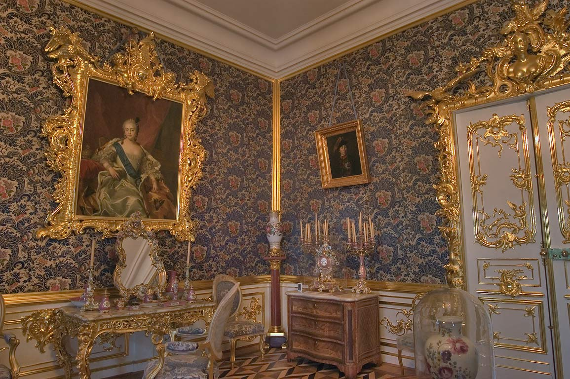 Decorated room in Grand Palace. Peterhof, a suburb of St.Petersburg, Russia
