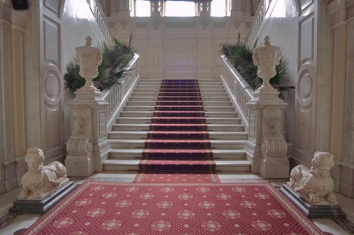 Grand staircase on the first floor of Yusupov Palace. St.Petersburg, Russia