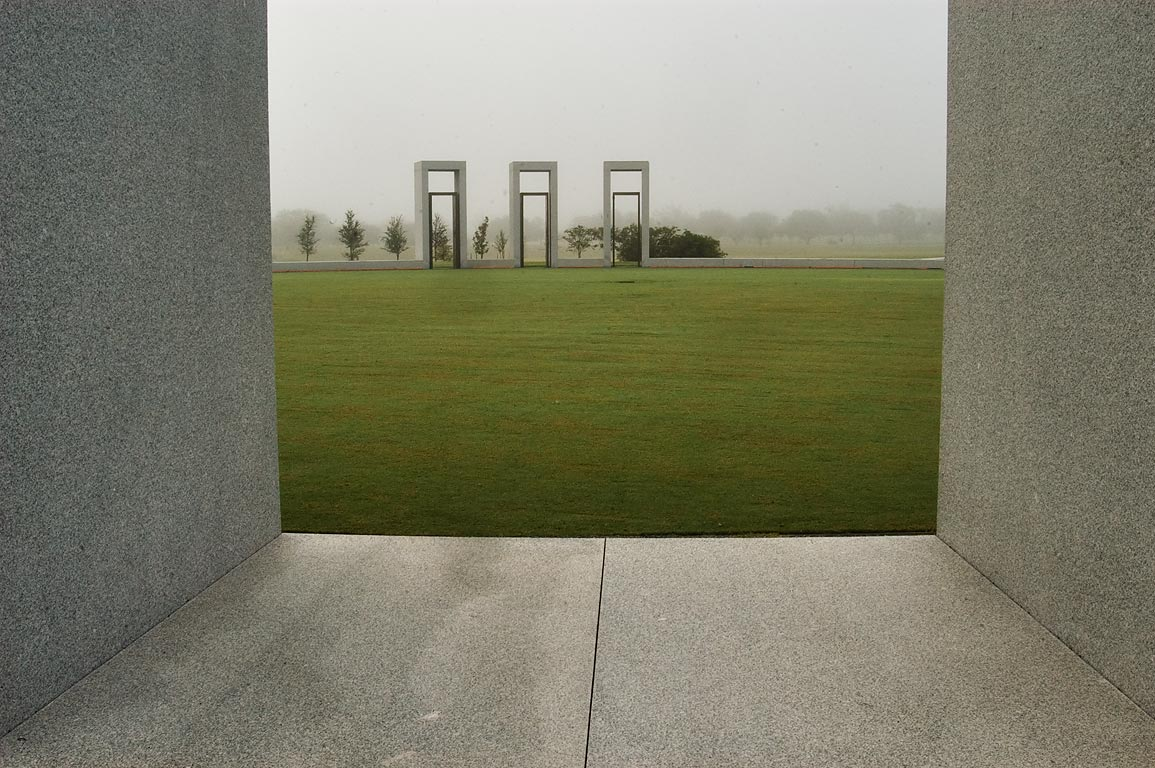 Bonfire Memorial in mist on campus of Texas A and...portals. College Station, Texas