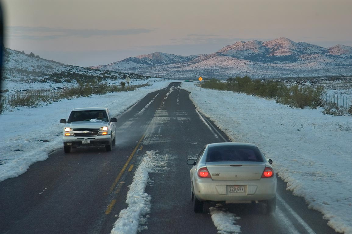 Highway 385 with snow, near Marathon. Texas