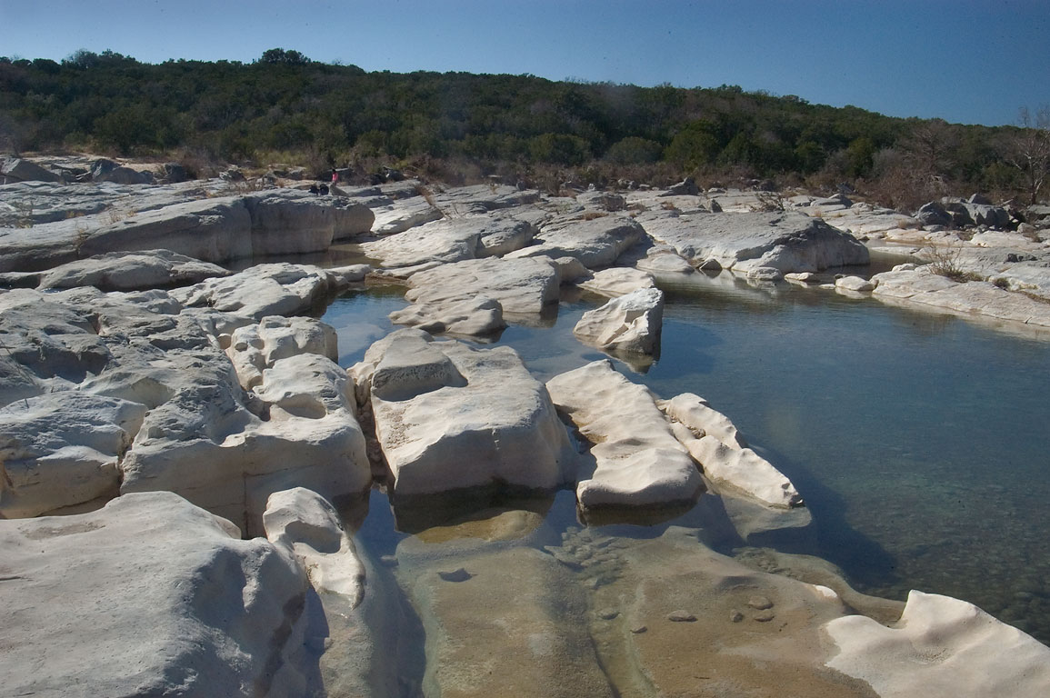 Riverbed rocks above Pedernales Falls. Johnson City, Texas