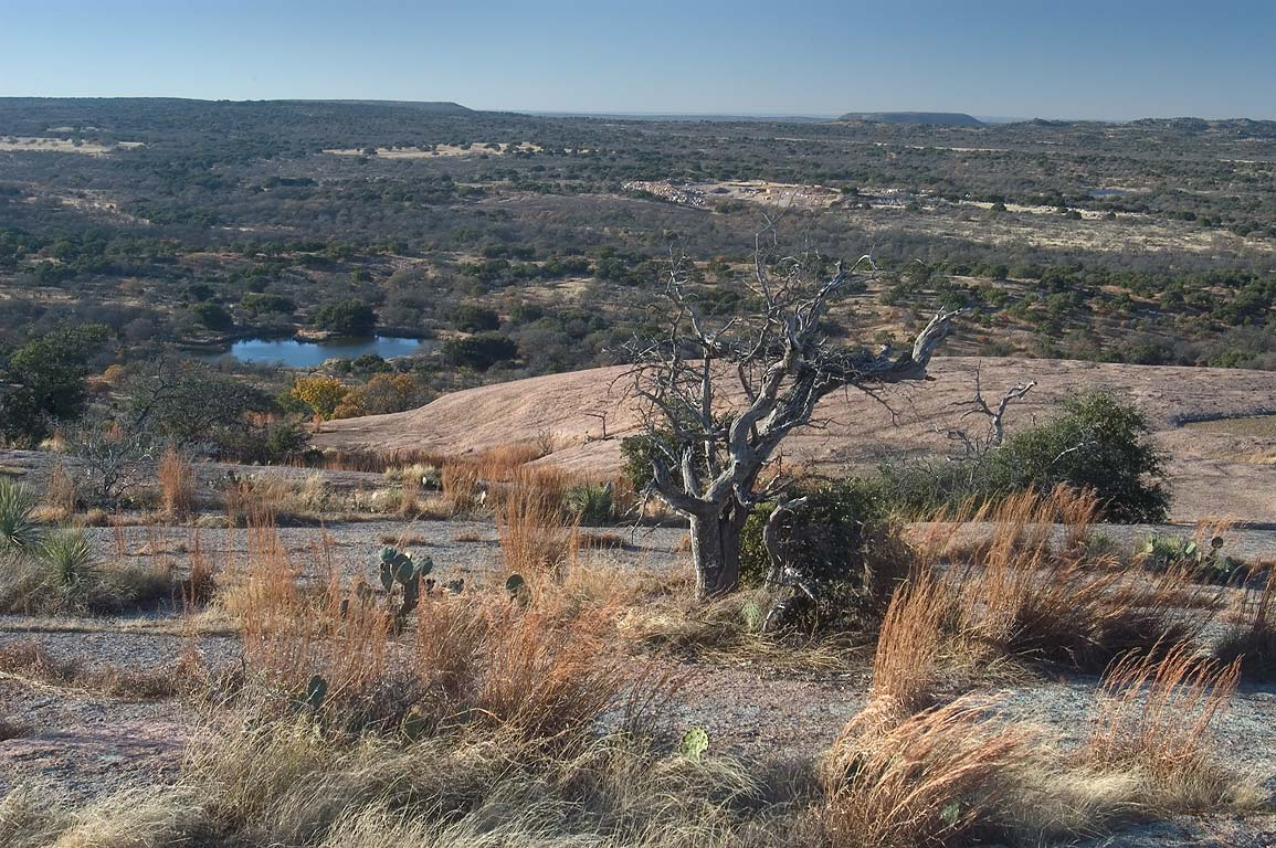 Moss Lake, view to north-west from Enchanted Rock dome. Fredericksburg, Texas