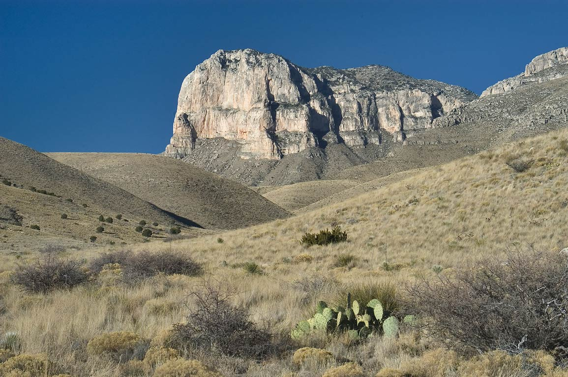 El Capitan Mountain, view from upper Roadside...Mountains National Park, Texas
