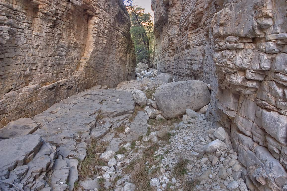 Rocks in Devil's Hall in Pine Spring Canyon. Guadalupe Mountains National Park, Texas