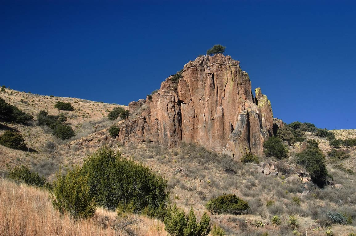 Cliff above Indian Lodge in Davis Mountains State Park. Fort Davis, Texas