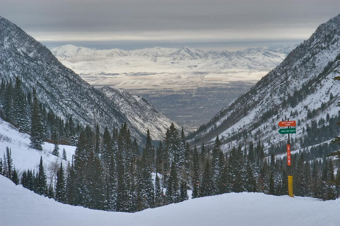 Wasatch National Forest and Salt Lake Valley...Miners Camp in Snowbird Ski Area. Utah