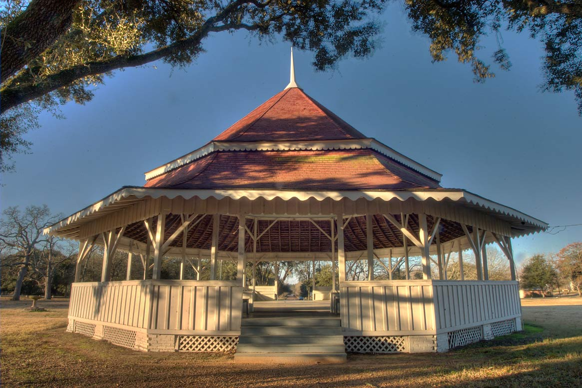 Gazebo-style octogonal two-tiered bandstand (1895...of Virginia Field Park. Calvert, Texas