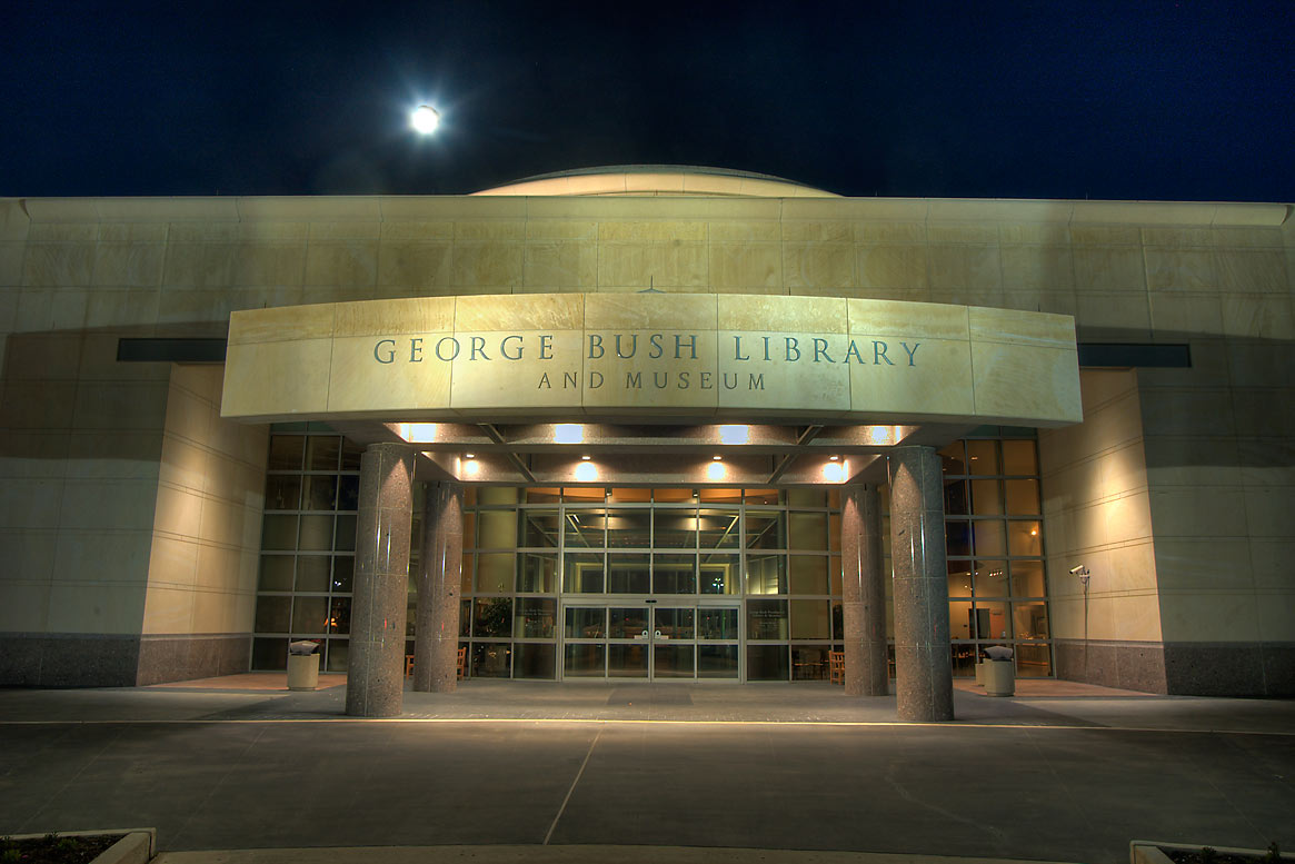 George Bush Library and Museum (with moon) on...M University. College Station, Texas