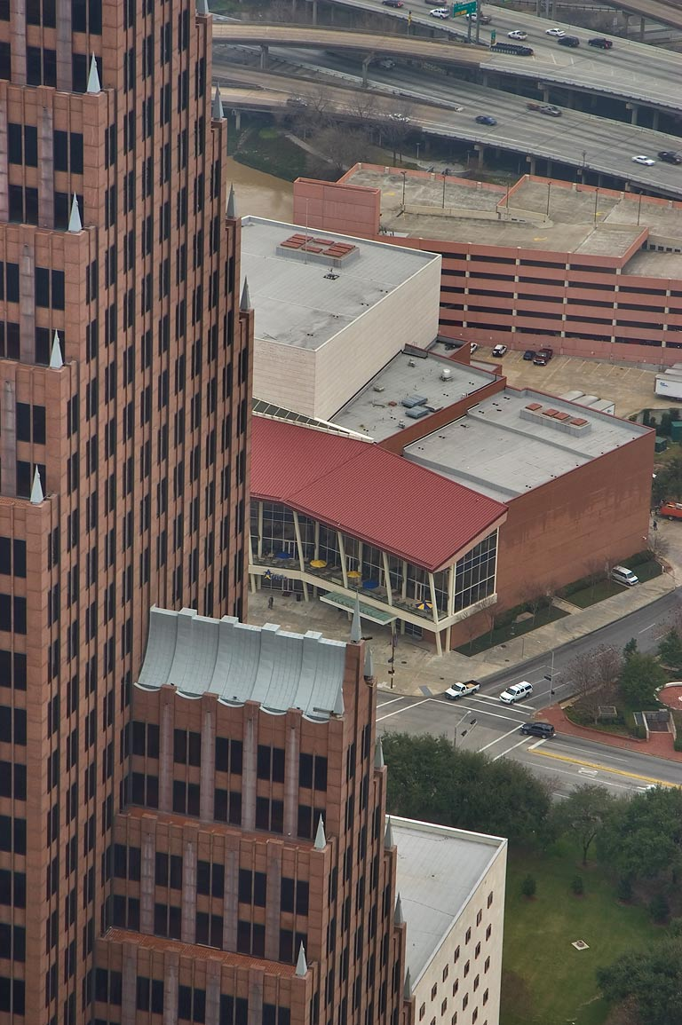 High rise building and Theatre District west from Chase Tower. Houston, Texas