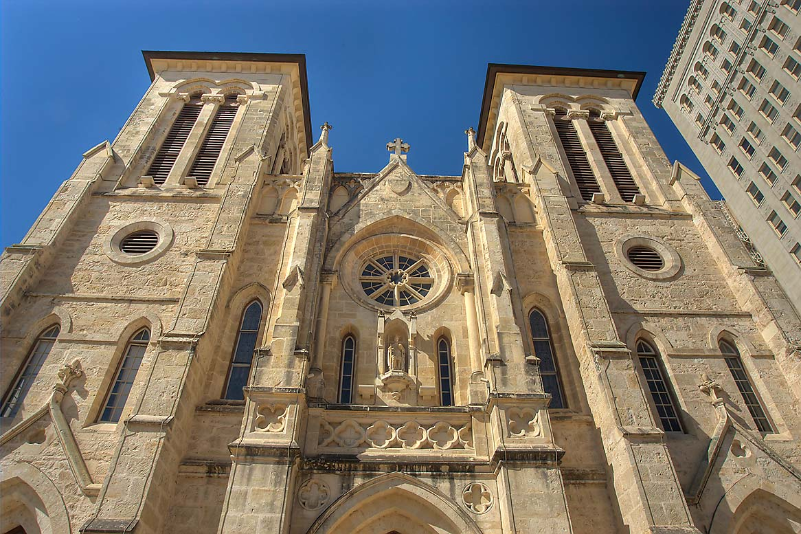 San Fernando Cathedral, view from West Main Plaza. San Antonio, Texas