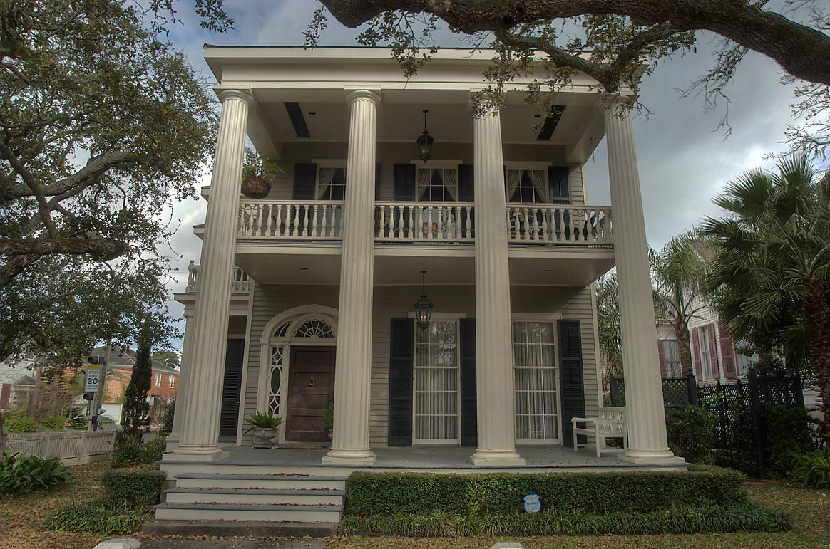 Charles Hurley house (1868) in Greek revival...Historic District. Galveston, Texas
