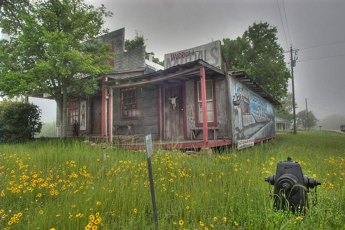Wodrich Murals house (former Shannon family store...with Rd. 50. Independence, Texas