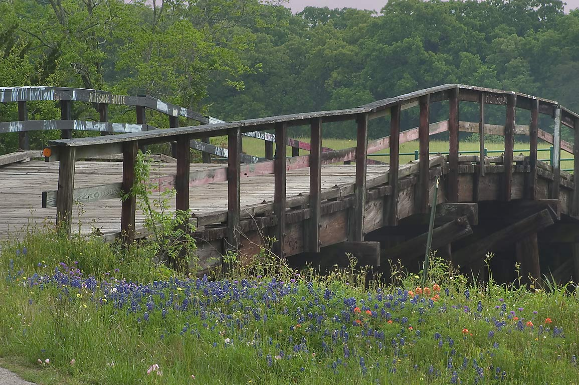 Railroad bridge of Old Gay Hill Rd., north from Pledger Rd.. North from Brenham, Texas