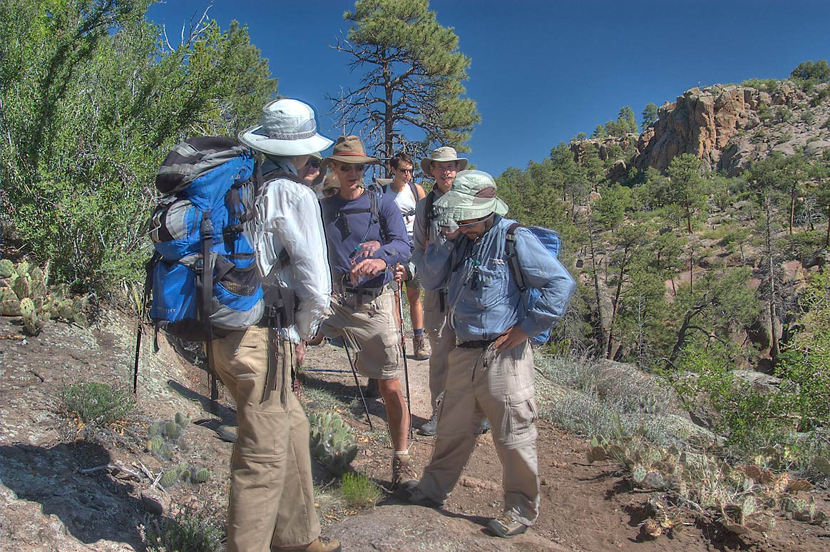 Group from Dallas Sierra Club walking north-west...Monument. New Mexico, near Los Alamos