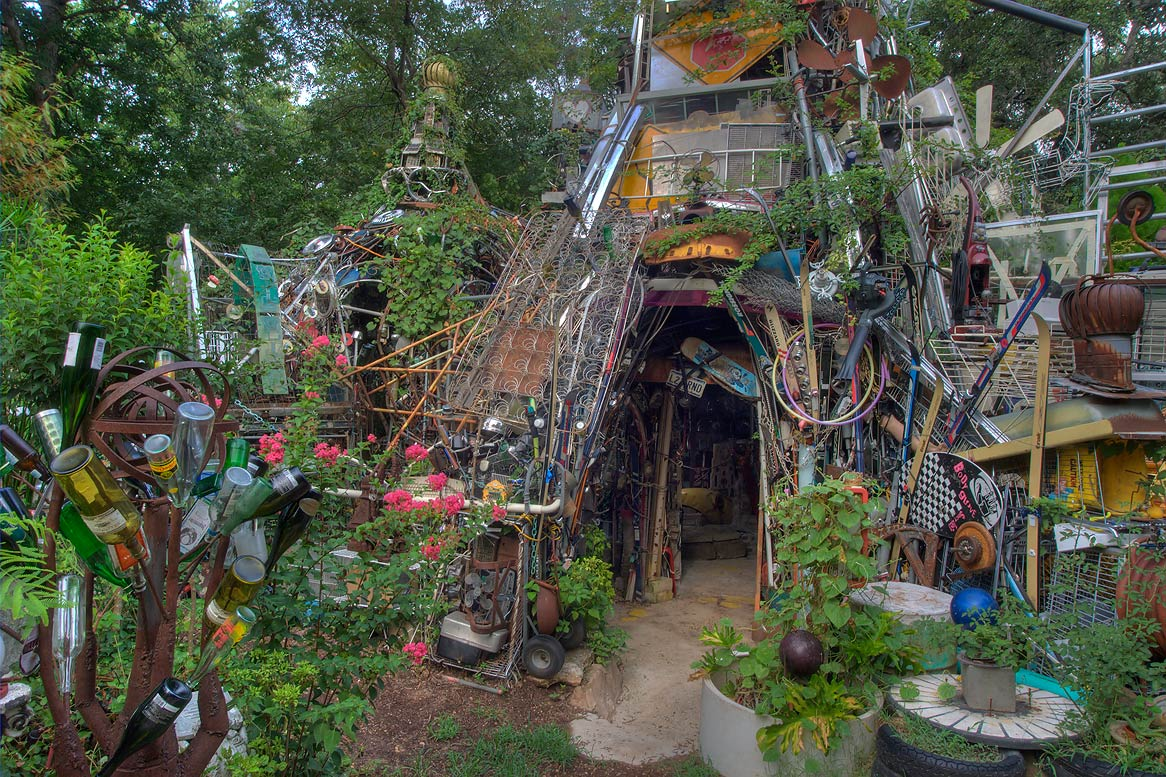 Towers of Cathedral of Junk at 4422 Lareina Dr...s backyard folk art). Austin, Texas
