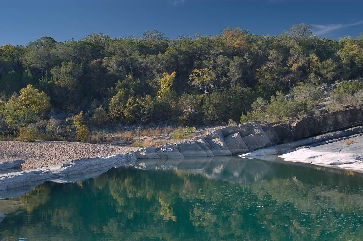Lake below the falls in Pedernales Falls State Park. Johnson City, Texas