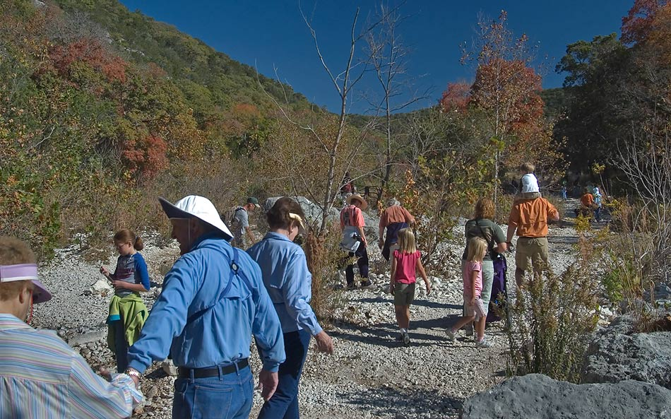 East Trail crowded by park visitors in Lost Maples State Natural Area. Vanderpool, Texas