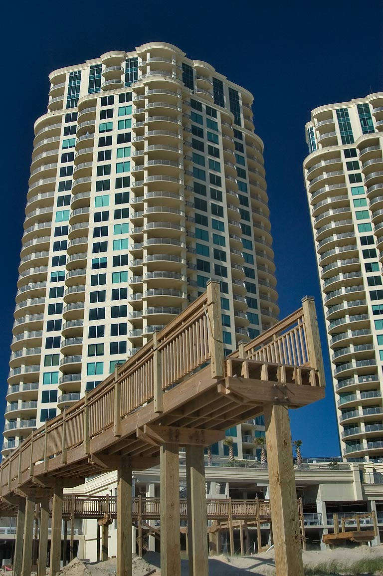 Twin high-rise towers of Palisade Palms...Ike to East Beach. Galveston, Texas