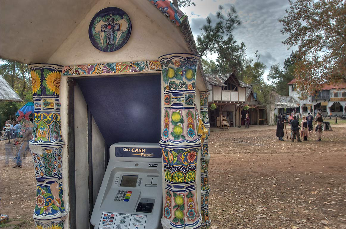 Attractively decorated automatic teller machine...Festival. Plantersville, Texas
