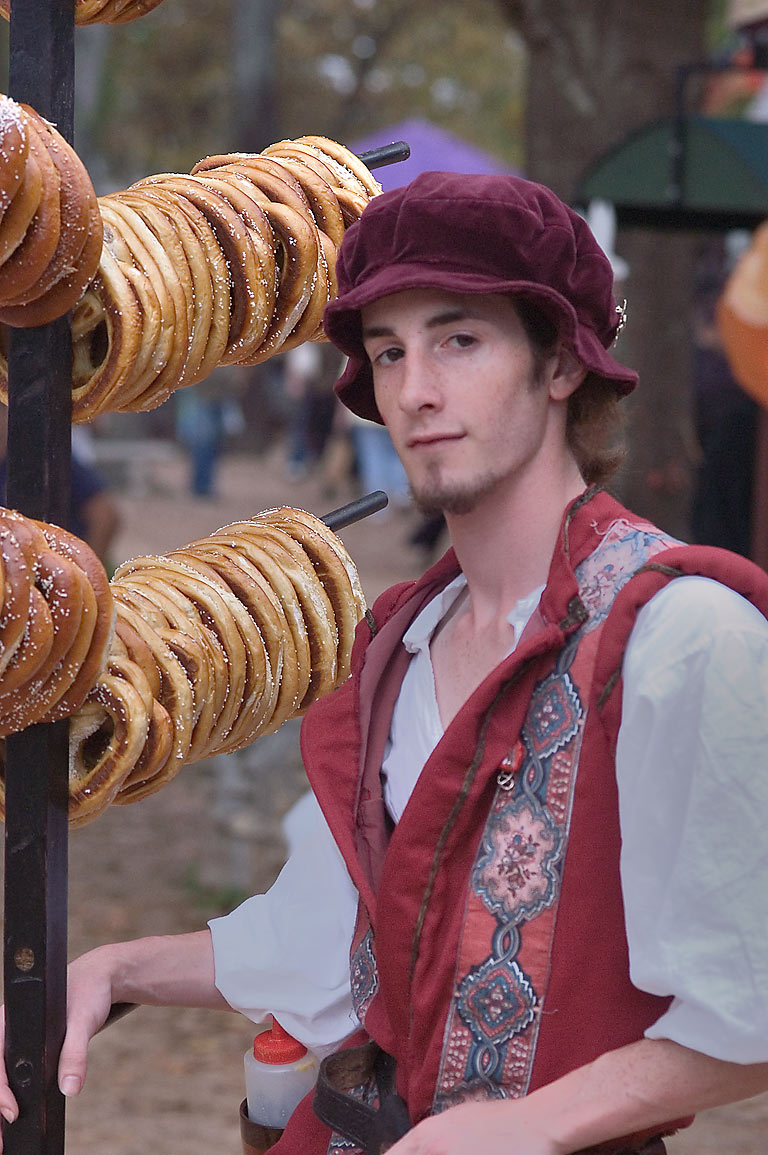 Street vendor with bagels at Texas Renaissance Festival. Plantersville, Texas